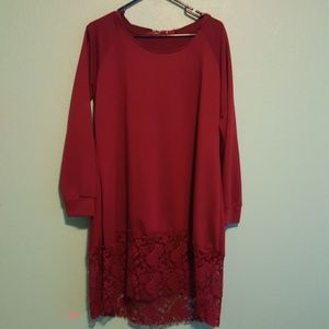 Hooded wine colored sweater dress with lace